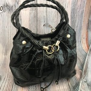 Relic Purse Black Faux Patent Leather Shouler Bag